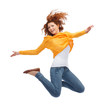 smiling young woman jumping in air - 72793962