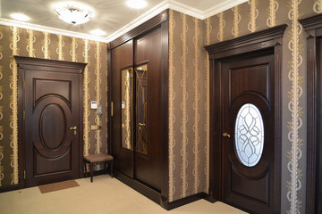Interior. A hall in brown tones