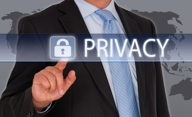 Privacy - Businessman with touchscreen