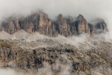 detail of steep cliffs in Dolomites