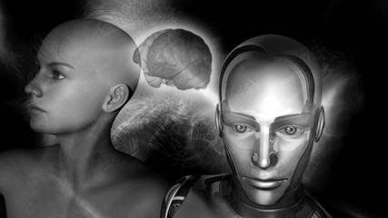 Artificial Intelligence - Robot connected to a female brain