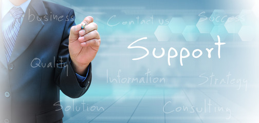 businessman hand writing support
