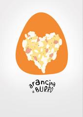 Arancina al burro vector illustration. Typical Sicilian dish