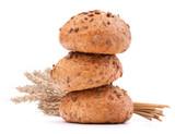 hamburger bun or roll and wheat ears bunch   cutout