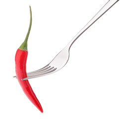 Chili pepper i on fork isolated on white background cutout. Heal
