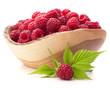 raspberries in wooden bowl