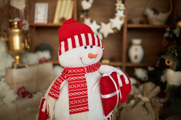 Christmas snowman in a beautiful room