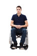 Confident Man Sitting With Hands Clasped In Wheelchair