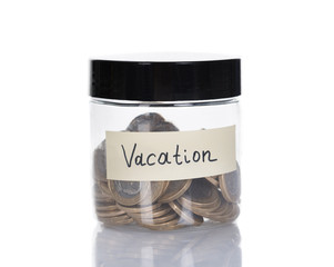 Vacation Jar Filled With Coins