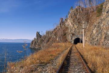 Autumn railroad. The Circum-Baikal Railway on south lake Baikal