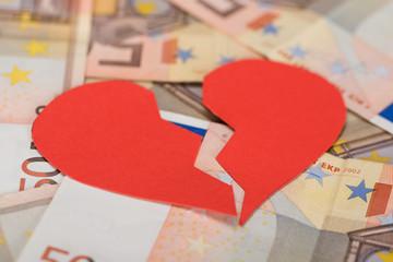Broken Heart On Euro Banknotes