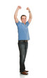Portrait Of Cheerful Man With Arms Raised