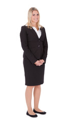 Beautiful Businesswoman Standing With Hands Clasped