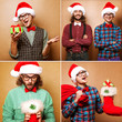 Two emotional Santa Claus dressed in clothes hipster