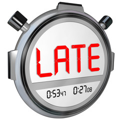 Late Word Stopwatch Timer Clock Tardy Delinquent Overdue Word
