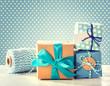 Light blue handmade present boxes - 72800317