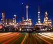 canvas print picture - beautiful lighting of oil refinery plant in industry estate agai