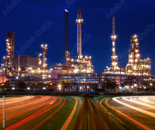 canvas print picture beautiful lighting of oil refinery plant in industry estate agai