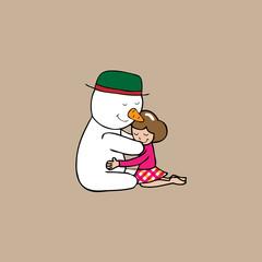 Hug Christmas Snowman and girl