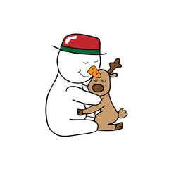 Hug Christmas Snowman and reindeer