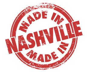 Made in Nashville Words Round Stamp Red Ink Product City Pride