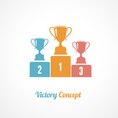 Vector Pedestal With Trophy Cups. Business concept