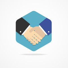 Flat business icon handshake.