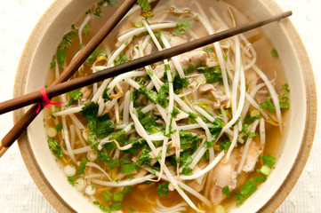 vietnamese pho, an ethnic meal of chicken soup