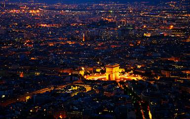 Arc de Triomphe  from the Eiffel tower in metropolis,Paris