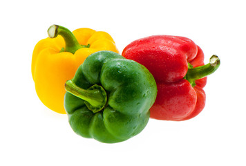 sweet peppers on white background