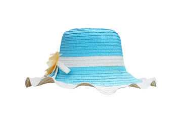 white and blue straw weave hat for lady