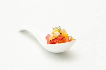 heirloom tomato salsa with corn and basil, an  appetizer