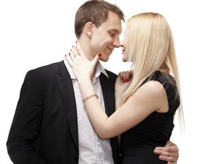 Closeup portrait of a happy romantic couple