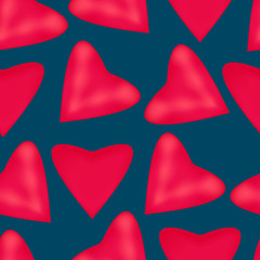 Texture of pink hearts on a blue background.