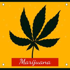 Hemp green leaf with the words marijuana.