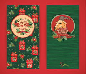 Merry Christmas and Happy New Year background. Vector illustrati