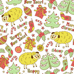 Christmas seamless pattern with animals sheep