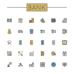 Vector Colored Bank Line Icons