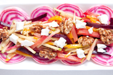 beet salad with apple, walnuts and goat cheese