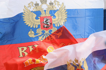 Russian flags in the wind flag