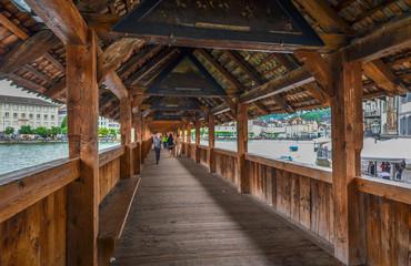A bridge on lake lucerne, Switzerland