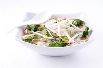 vietnamese pho soup, an ethnic meal of chicken