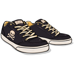 Vector Cartoon Black Skaters Shoes