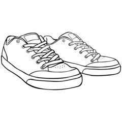 Vector Line Art Skaters Shoes