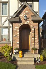 Front door entranceand decorations.