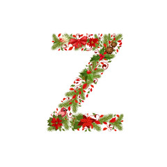 christmas floral tree letter Z