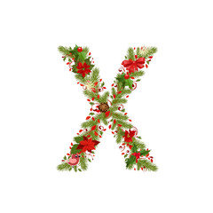 christmas floral tree letter X