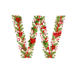 christmas floral tree letter W