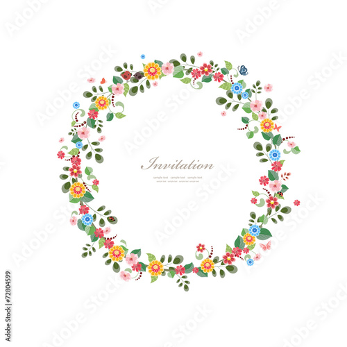 invitation card with floral wreath for your design - 72804599