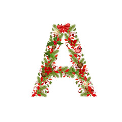 christmas floral tree letter A